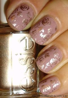 gold rose nail stamp - Google Search                                                                                                                                                                                 More
