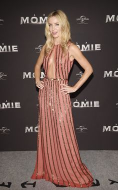 Annabelle Wallis Cutout Dress - Annabelle Wallis turned heads in a coral Prada gown with gold stripes and a cleavage-baring cutout at the Paris premiere of 'The Mummy.'