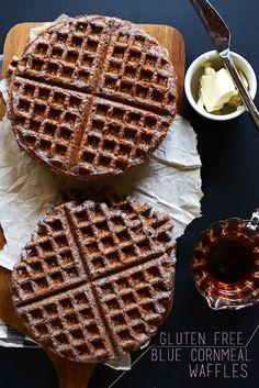 Blue Cornmeal Waffles {vegan + gluten-free} | Minimalist Baker