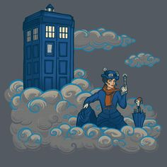 A Mary Poppins and Doctor Who mashup t-shirt by Karen Hallion. The more you think about it, the more this makes perfect sense.