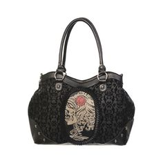 Zombie Lady Cameo Flocked Shoulder Bag by Banned ($35) ❤ liked on Polyvore featuring bags, handbags, shoulder bags, skull handbag, print handbags, black purse, black shoulder bag and pattern handbag