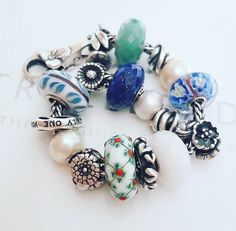 Trollbeads uniques greens and blues