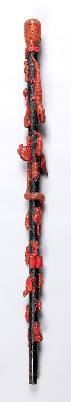Carved and painted walking stick, century Walking Sticks And Canes, Walking Canes, Walking Staff, Cane Handles, Cane Stick, Wooden Canes, Cannes, Art Japonais, Sticks And Stones