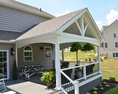 Nice dissected porch design backyard Get on your smart phone Screened Porch Designs, Front Porch Design, Backyard Patio Designs, Pergola Patio, Back Porch Designs, Screened Porches, Pergola Kits, Up House, House With Porch