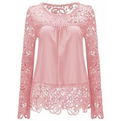 Solid Color Lace Spliced Hollow Out Blouse (100 GTQ) ❤ liked on Polyvore featuring tops, blouses, rosegal, shirts, lacy shirt, lace blouse, lacy tops, pink lace top and pink blouse