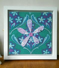 Contemporary Embroidered Textile Art  'Purple Flower by FifiLouLou
