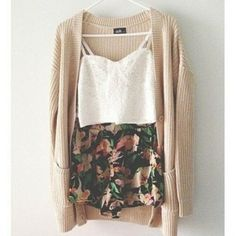 High Waisted Floral Shorts, Long Cardigan, And White Tank Top