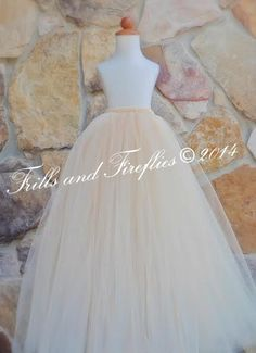 Champagne Long Length Flower Girl Tutu ..MANY COLORS AVAILABLE...Sizes Baby to Size 8..Larger Sizes Upon Request