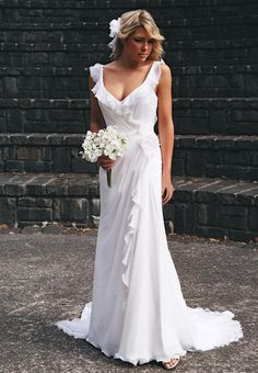 Vintage ruffled wedding dress Romantic lace wedding dress beach wedding dress. $238.00, via Etsy.