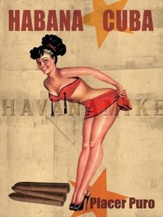 Pinup CUBAN Cigar Girl Vintage Poster Cuba Tobacco