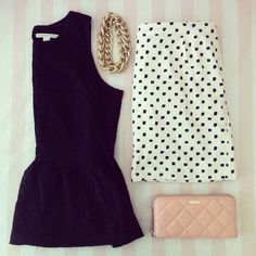 polka dots skirt. black peplum blouse. nude wallet and gold necklace. {adorable.}