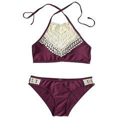 Swimwear Lace Patchwork Halterneck Sexy Bikini Set (350 ARS) ❤ liked on Polyvore featuring swimwear, bikinis, swimsuits, bikini swimsuit, lace swimsuit, halter bathing suit, halter tops and sexy bathing suits