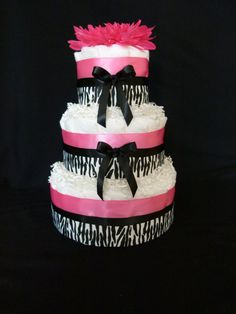 3 Tier Diva Pink and Black Zebra Baby Girl Diaper by mamabijou,