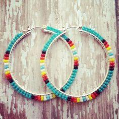 native american beaded earrings | Turquoise Sunburst Native American Beaded Hoop by OraLouiseJewelry, $ ...