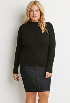 Plus Size Ribbed Mock Neck Sweater | Forever 21 PLUS - 2000142633