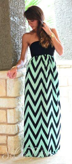 Shades of Chevron Strapless Maxi Dress