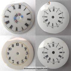 4 St. Emaille Zifferblätter für Taschenuhren, Zifferblatt, pocket Clock, Watches, Wall, Decor, Enamel, Watch, Decorating, Wristwatches, Clocks