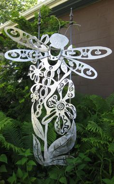 Just finished this piece last night--I'm NOT the biggest dragonfly fan but when I insert them in my art--metal or glass--it sells!  This one is gong with me to an art show this weekend!