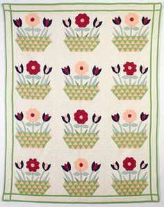 Baskets of Flowers Quilt: Circa 1930