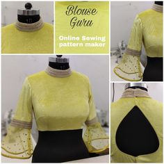 Collar neck with Bell sleeve design. Make your Blouse perfect with Blouse Guru Sewing drafts. Netted Blouse Designs, Saree Blouse Neck Designs, Fancy Blouse Designs, Latest Blouse Designs, Golden Blouse Designs, Latest Blouse Patterns, Designer Blouse Patterns, Blouse Sewing Pattern, Neck Pattern