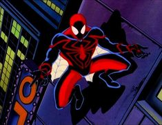 """In the classic cartoon """"Spider-Man Unlimited,"""" Peter Parker sports a high-tech new suit for a highly-dangerous new enemy: The High Evolutionary. Spiderman Art, Amazing Spiderman, Marvel Heroes, Marvel Comics, 90s Kids Cartoons, Spider Man Unlimited, Marvel Animation, Ultimate Spider Man, Comic Pictures"""