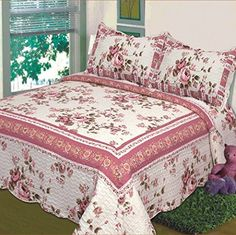 Fancy Collection 3 Pc Bedspread Bed Cover Beige Pink Floral Queen Over Size 100″x106″ - http://aluxurybed.com/product/fancy-collection-3-pc-bedspread-bed-cover-beige-pink-floral-queen-over-size-100x106/