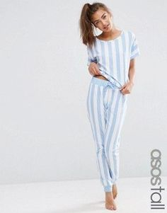 9005cf07 ASOS TALL Deckchair Stripe Tee & Jogger Pajama Set Cute Pjs, Joggers  Womens, Pajamas