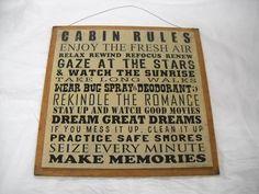 Cabin Rules Wooden Wall Art Sign enjoy the fresh air relax rewind make memories lodge nature lake decor