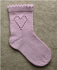 A set of three socks for a little girl. From left: stripy socks, lacy heart socks and heart socks in white and pink. STRIPY SOCKS No ins. Lace Knitting Patterns, Knitting Charts, Knitting Socks, Knitting For Kids, Baby Knitting, Knitted Heart, Lace Socks, Yarn Stash, Lace Heart