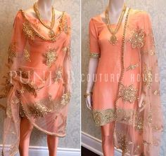 Gold and peach Indian outfit Punjabi Fashion, Ethnic Fashion, Bollywood Fashion, Indian Fashion, Women's Fashion, Indian Wedding Outfits, Pakistani Outfits, Wedding Dresses, Indian Attire