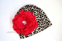 Infant Beanie / Newborn Beanies / Baby Beanie / Girls Hat /Black n Leopard / Cheetah Beanie / Cotton Beanie/ Holiday Glamour Kitty