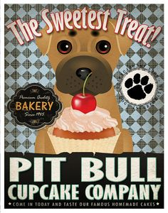 Pit Bull Cupcake Company Original Art Print  by DogsIncorporated, $29.00
