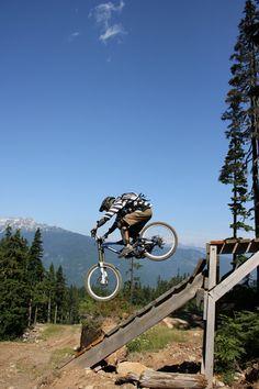 Ladder drop, Whistler Bike Park, British Columbia