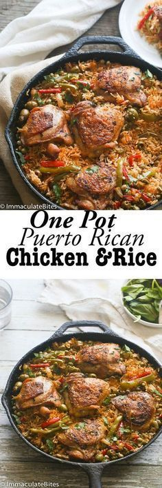 ne Pot Puerto Rican Chicken and Rice An incredible chicken meal that would excite your taste buds Flavored with sofrito sauce spices peas and olives So easy to make and c. Turkey Recipes, Mexican Food Recipes, Chicken Recipes, Dinner Recipes, Ethnic Recipes, Chicken Meals, Latin Food Recipes, The Chew Recipes, Vegetarian Mexican