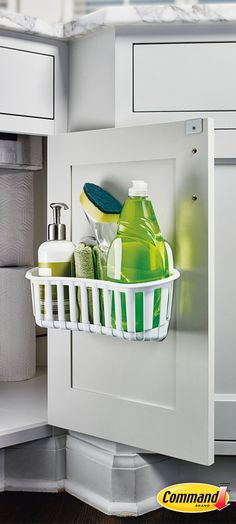 Learn how a Command™ Under Sink Cabinet Caddy can help keep your cleaning supplies and tools organized. Household Organization, Tool Organization, Kitchen Organization, Organizing, Cleaning Caddy, Cleaning Supplies, Portal, Under Sink, Tiny Living
