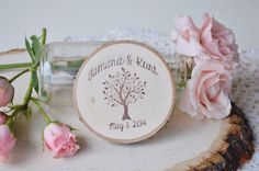 Save the Date Idea!!! Set of 50 Rustic Wood Slice Save the Date Magnets with Swirl Tree Design by PNZ designs on Etsy, $92.50