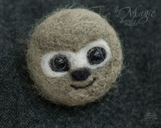 Felted sloth pin animal brooch needle felted sloth gift by byMagic
