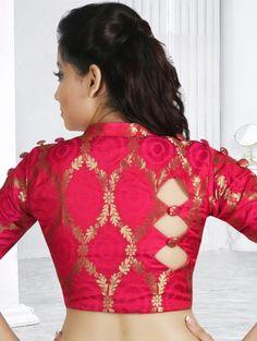 Reddish Pink Art Silk Blouse with Zari