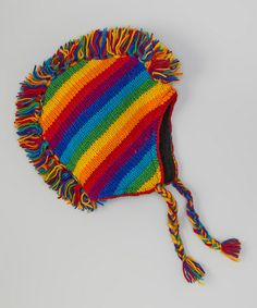 Take a look at this Rainbow Mohawk Wool Earflap Hat by Rising International on #zulily today!