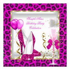 Animal Hot Pink Gold Glitter Heels Birthday Party Custom Invitations