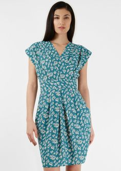 Image result for crepe print gown blue x green
