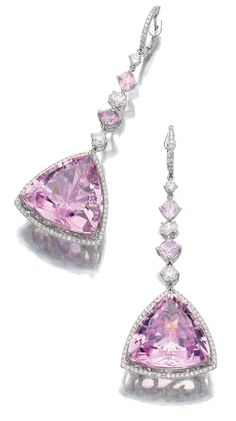 PAIR OF KUNZITE, SPINEL AND DIAMOND PENDENT EARRINGS, MICHAEL YOUSSOUFIAN.  Each featuring a triangular kunzite within a border of brilliant-cut diamonds, suspended from an alternating line of cushion-shaped spinels, brilliant-cut and oval diamonds, post fittings, signed MY, case by Michael Youssoufian.