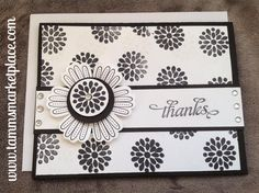 Thanks Handmade Card in Black and White with Jeweled Flower MKC045