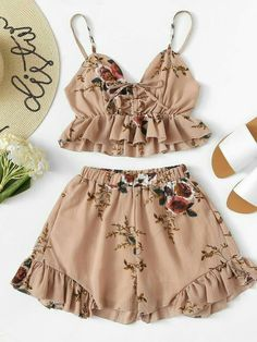 Ruffle Hem Floral Print Cami With Shorts -SheIn(Sheinside) Girls Fashion Clothes, Teen Fashion Outfits, Kids Outfits, Girl Fashion, Fashion Dresses, Womens Fashion, Cute Summer Outfits, Cute Casual Outfits, Cute Sleepwear
