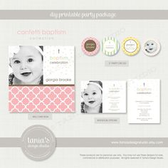 Confetti Baptism Printable Birthday Party Package by tania's design studio