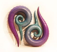 Custom Polymer Clay Ombre Spiral Plugs Large by OctoThrive on Etsy, $40.00