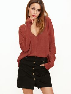 a945bf638a9 Shop Brick Red Ribbed Knit Double V Neck Drop Shoulder Top online. SHEIN  offers Brick Red Ribbed Knit Double V Neck Drop Shoulder Top   more to fit  your ...