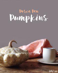 Posca Pen Pumpkin -a no-carve decorated pumpkin Fake Pumpkins, White Pumpkins, A Pumpkin, Pumpkin Carving, Pumpkin Pictures, Autumn Table, Bamboo Skewers, Spirograph, Root Vegetables