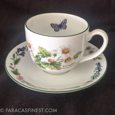 Royal Worcester Herbs Green Trim Flat Tea Coffee Cup and Saucer Set Fine Porcela | Pottery & Glass, Pottery & China, China & Dinnerware | eBay!
