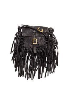 92338a0a1f5 Valentino C-Rockee Pebbled Leather Fringe Shoulder Bag Black, Light Brown  or Emerald Fall